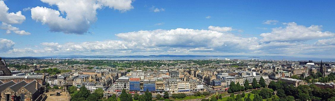 Scotland, England, Edinburgh, View, City, Panorama