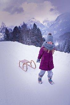 Person, Human, Child, Girl, Winter, Snow, Toboggan