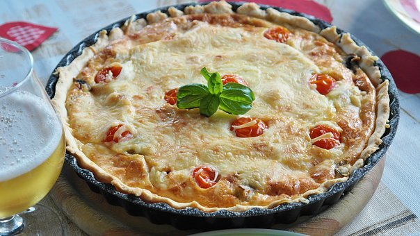 Quiche, Bacon, Onion, Egg, Tomatoes, Dough, Cheese, Eat