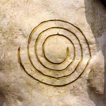 Symbol, Spiral, Cosmos, Rock, Stone, Sand Stone, Golden
