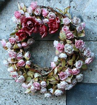 Rosary, Roses, Wreath, Romance, Romantic, Love, Flower
