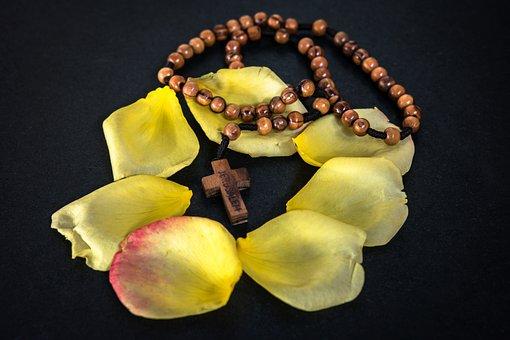Rosary, Prayer, Prayer Chain, Rose, Rose Petals, Petals