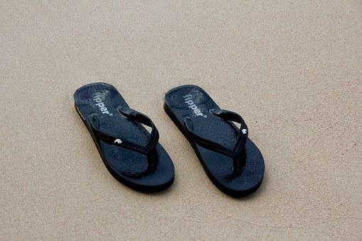 Sand, Beach, Slippers, Sandals, Footprint, Sand Beach