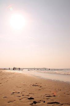 Footprints, Beach, Sea, Coast, Mood, Footprint