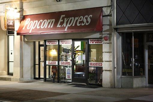 Popcorn Express, Store, Night, Closed, Popcorn, Shop