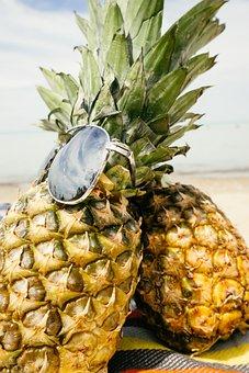 Pineapples, Sand, Beach, Summertime, Summer