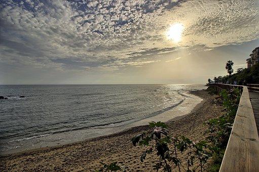 Beach, Clouds, Sky, Sunset, Light, Landscape, Mijas