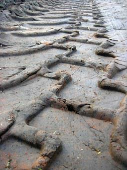 Tire Tracks, Path, Field, Tire, Clay, Tractor, Print