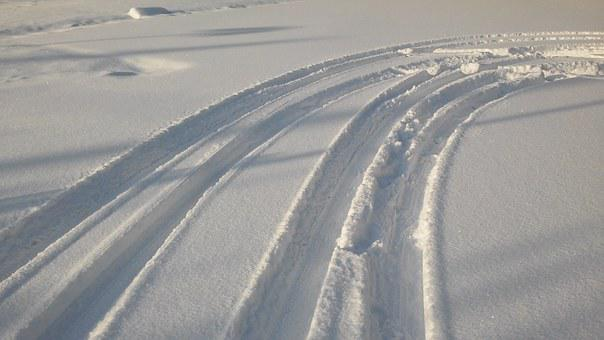 Tire Tracks, Traces, Snow, Lanes, New Zealand, Winter