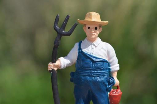 Farmer, Pitchfork, Man, Toy, Action Figure, Farming