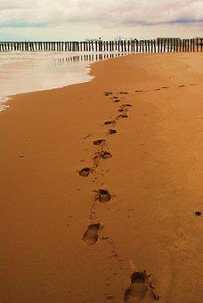 Fußbabdruck, Fußbabdrücke, Sand, Traces