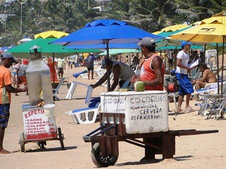 Beach, Peddling, Brazil, Travel