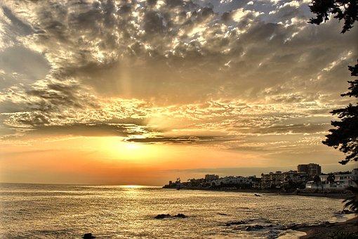 Twilight, Sunset, Sky, Clouds, Sea, Mijas