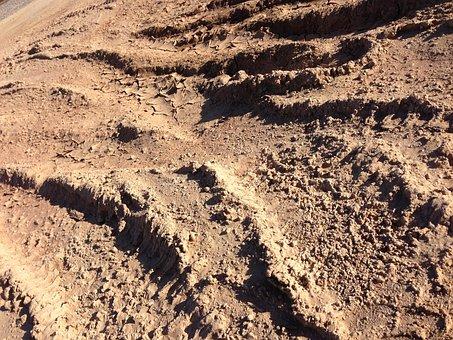 Tire Tracks, Tracks, Tyre, Sand, Desert, Mud, Pattern