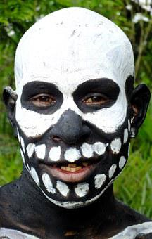 Mask, Painted, Face, Black, White, Makeup, Artistic