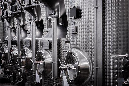 Wine, Steel, Tank, Steel Drums, Cellar