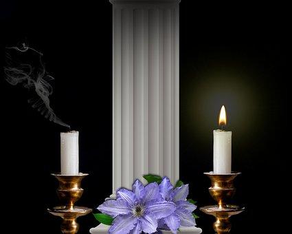 Chandeliers, Candles, Column, Flowers Purple