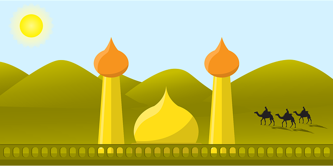 Mosque, Desert, Camel, Sand, Landscape, Islam, Arabian
