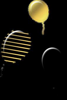 Gold And Black Balloons, Ballons, Halloween, Black