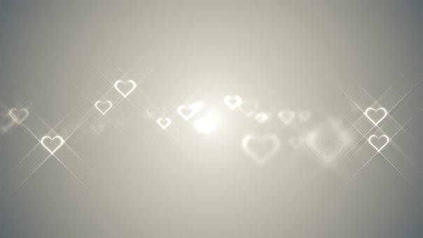 Hearts, Glowing, Romance, Love