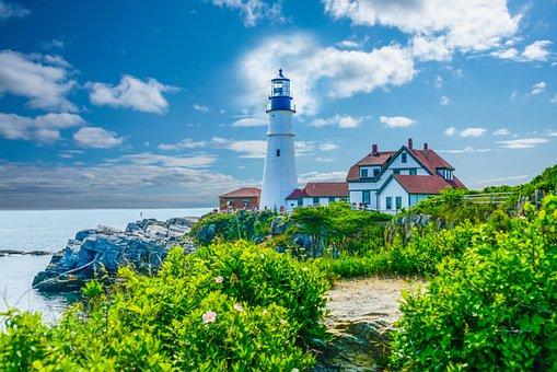Maine, Lighthouse, Sea, Portland, Ocean, Coast