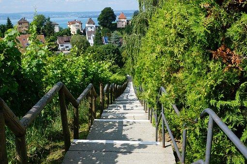 Stairs, Meersburg, Nature, Vineyard, Sky