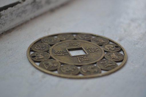 Currency, China, Medall On, Zodiac, Signs, Coins, Yuan