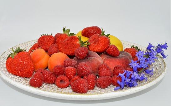 Fruit Plate, Fruit, Fruits, Strawberries, Raspberries