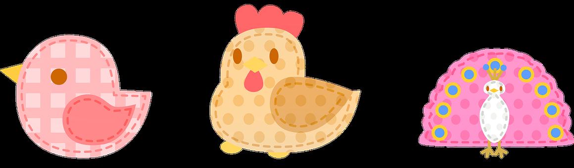 Kawaii Birds, Chicken, Peacock, Patchwork, Feather, Hen