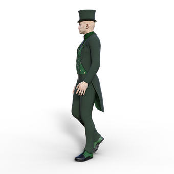 Man, Top, Hat, Suit, Tie, Isolated