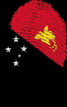 Papua New Guinea, Flag, Fingerprint, Country, Pride