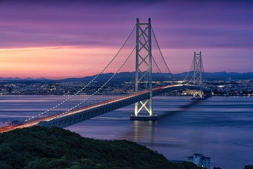 Landscape, At Dusk, The Akashi-kaikyo Bridge