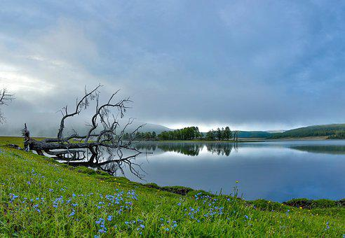 Landscape, A Small Lake, Spring, Morning Mist