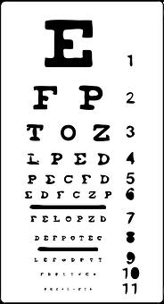 Eye Chart, Eyes, Vision, Sight, Exam