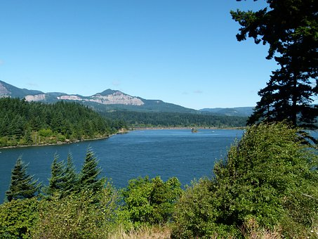 Columbia River, Landscape, Nature, Water, Shipping Way