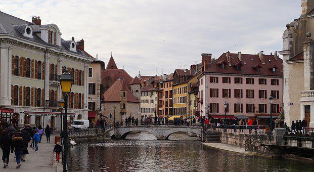 Annecy, France, River, Bridge, Old Town, Canal, Walking
