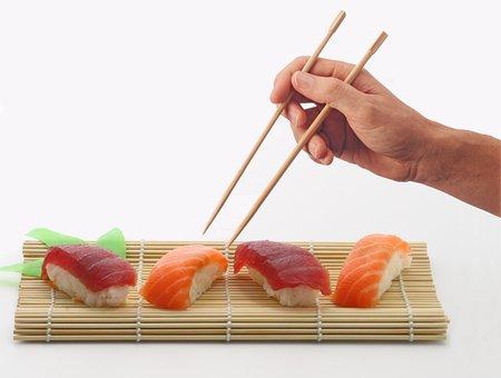 Sushi, Fish, Chopsticks, Hand, Salmon, Rice, Tuna, Food
