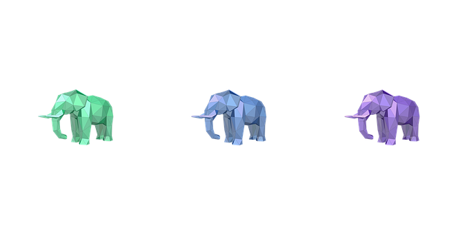 Elephant, Low Poly, Chromatic, 3d Design, Triangle