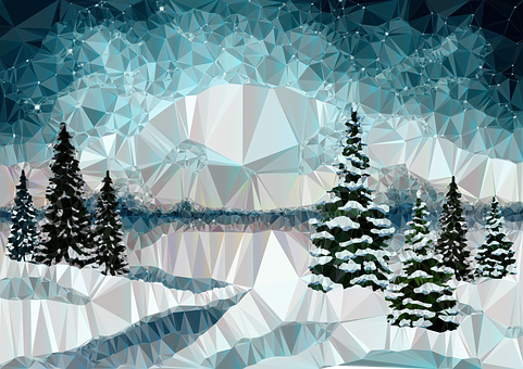Winter, Landscape, Low Poly, Polygons, Triangles
