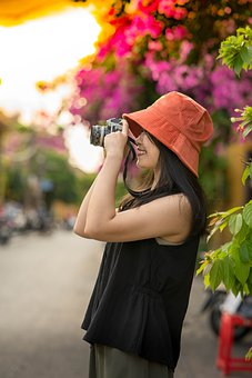 Girl, Photographer, Camera, Model, People, Person