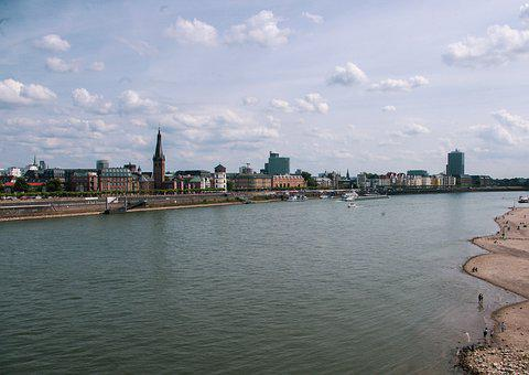 Düsseldorf, Rhine, Skyline, City, Water, Building