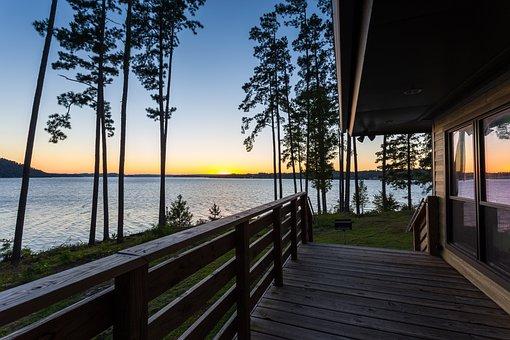Sunset, Guntersville, Lake, Alabama, Trees, Woods