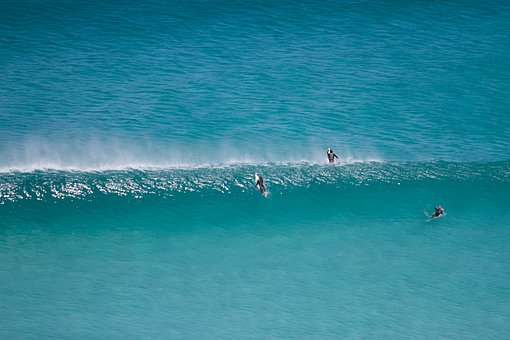 Surfers, Sea, Wave, Blue, Beach, Surfing, Surf, Surfer