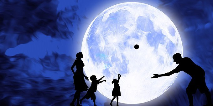 Full Moon, Family, Night, Sky, Galaxy, Mother, Father