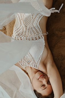 Flying Fabric, Blanket, Beach, Woman, Girl, Sand, Sea