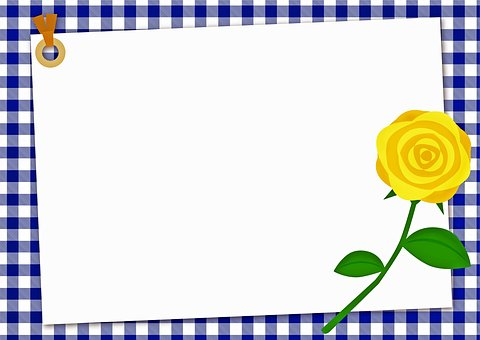 Yellow Rose Background, Blue Checkered, Scrapbook Paper