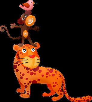 Animal Tower, Tiger, Monkey, Fantasy, Nature