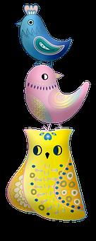 Bird Tower, Birds, Stacked Animals, Fantasy, Nature