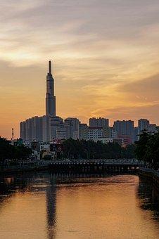 City, Landmark81, Sunrise, Ho Chi Minh, River, Sky