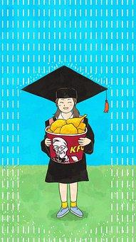 Hand Drawn, Girl, Kfc, Graduation, Study, Rain